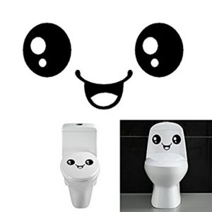 Cute Smiling Face Stickers Bathroom Waterproof Toilet Stickers Closestool Stickers by WoodBD