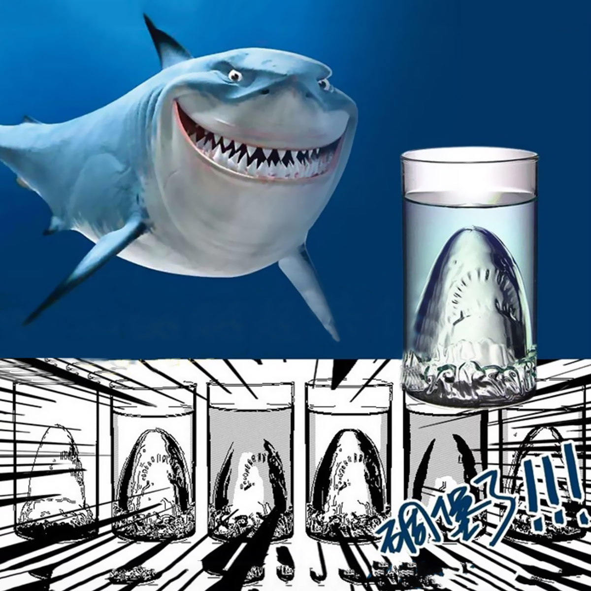 Glow Castle Creative selling beer cup funny shark wine cup glass cup