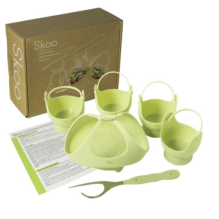 Skoo silicone steamer egg poachers