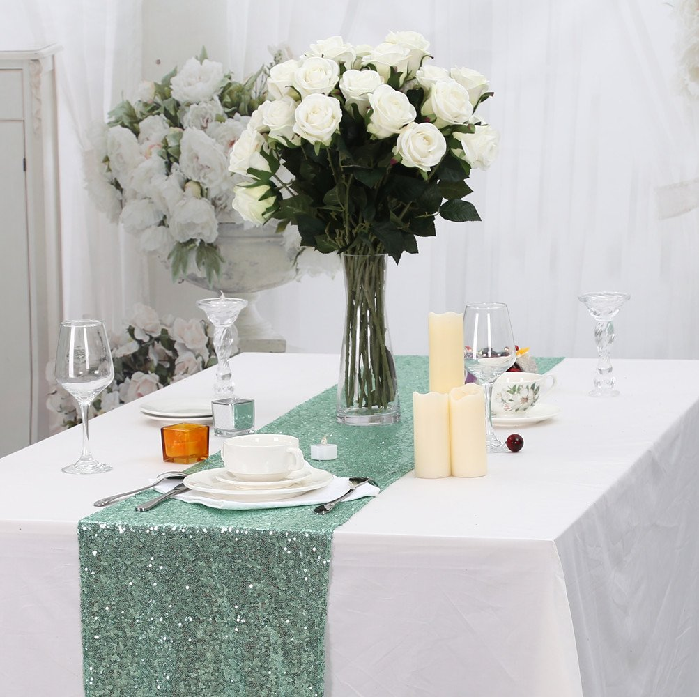 15% Partydelight 12×120 Inch Rectangle Sequin Table Runner, Mint Green