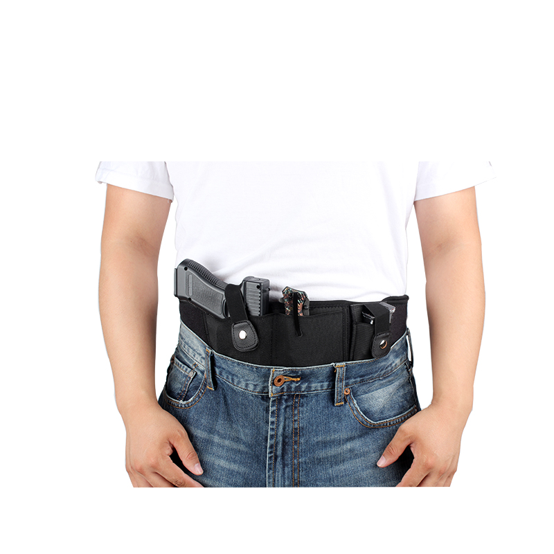 Concealed Carry Belly Band Holster w/Magazine Pouch for Pistols/Revolvers -  for Women and Men - Outside/Inside The Waistband Carry (OWB/IWB) - Right